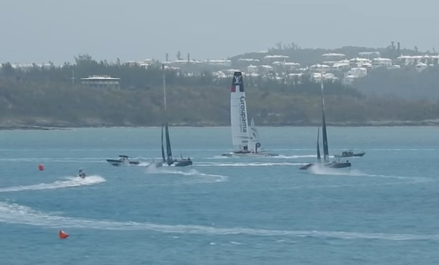 Youth America's Cup chase boat cuts in front of Artemis during practice race, 6 April 2017 - MyislandhomeBDA