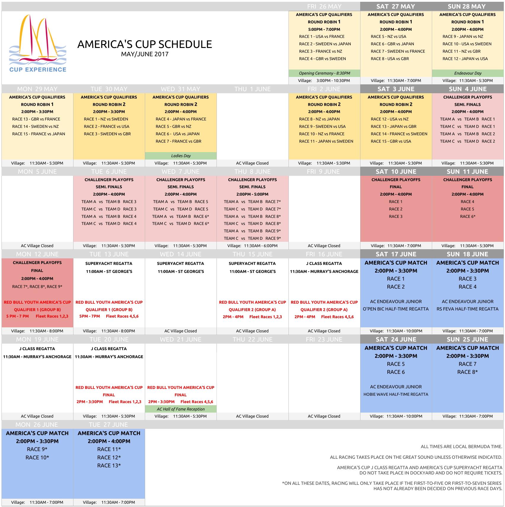 2017 America's Cup Calendar