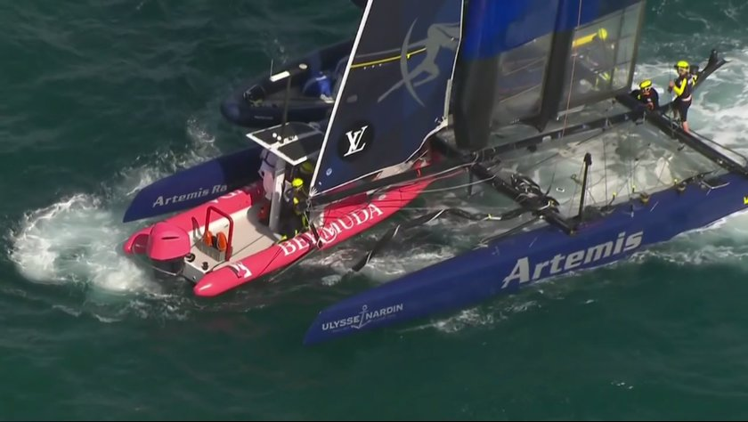 Umpire Crashes into Artemis at America's Cup World Series Bermuda