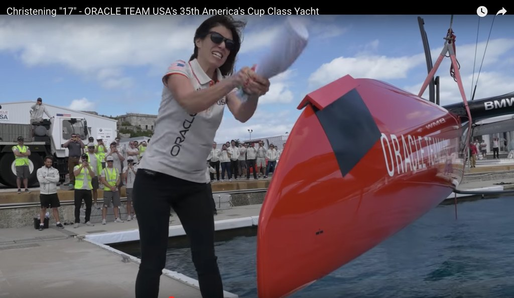 Luciana Corral christens Oracle Team USA America's Cup Class race boat on 15Feb'17