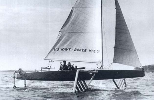 Gordon Baker's Monitor hydrofoil monohull sailboat for US Navy
