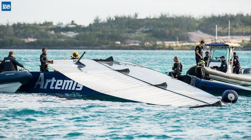 America's Cup challenger Artemis Racing AC45x test boat broke up. April 2017. Image: Royal Gazette