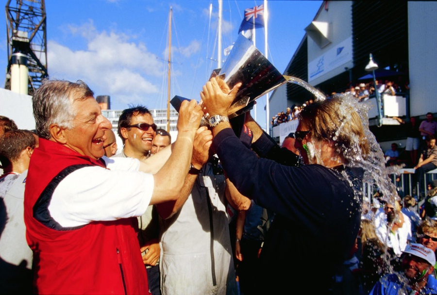 America's Cup - Patrizio Bertelli, in happier times, winning the Louis Vuitton Cup on his first try, in Auckland in 2000. The 2017 challenge was his fifth, equalling Sir Thomas Lipton.