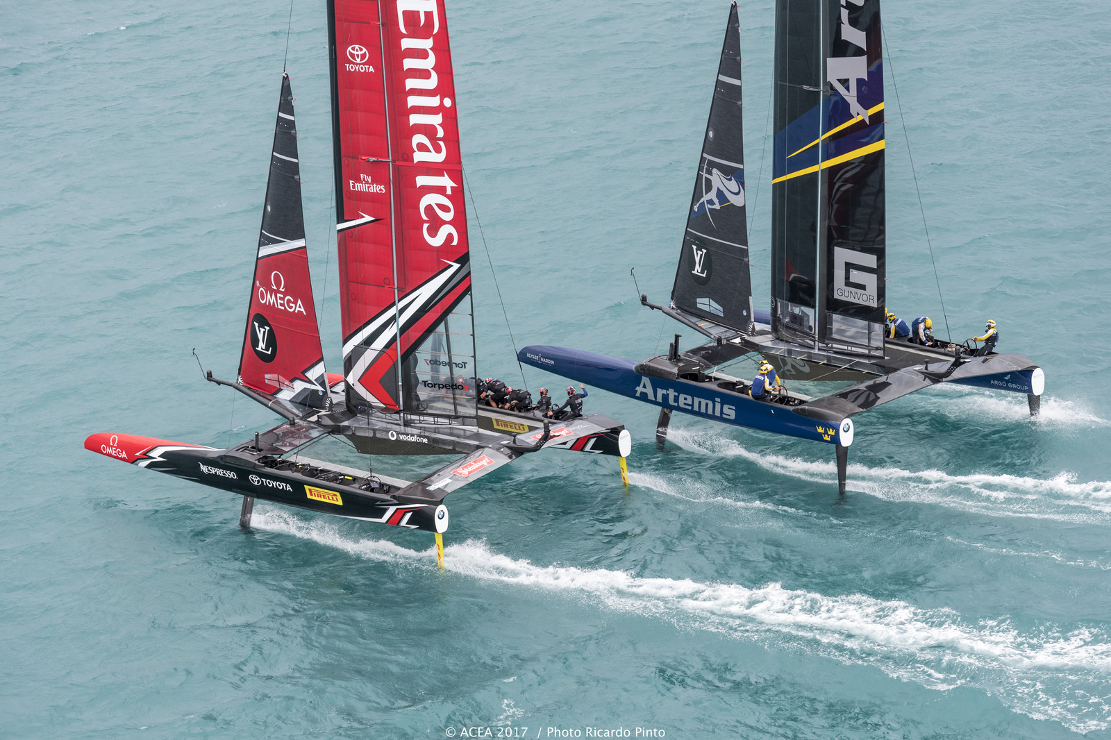 Team New Zealand vs Artemis in America's Cup Challenger Finals - Image: Ricardo Pinto