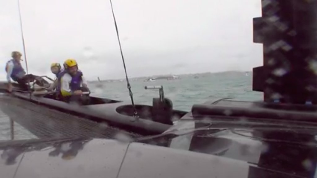 America's Cup Challenger Finals - Outerridge MOB in Race 3 - Image ACTV Video