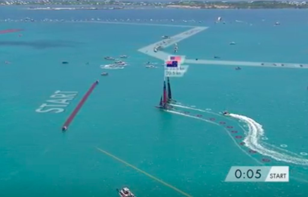 Oracle Team USA faster and to windward in pre-start of Race 7 in the 2017 America's Cup Match