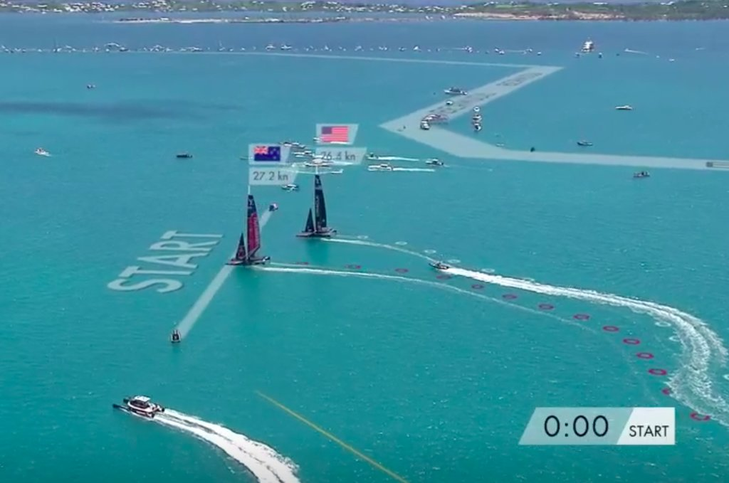 Oracle is late and slow at the start of Race 7 in the 2017 America's Cup Match