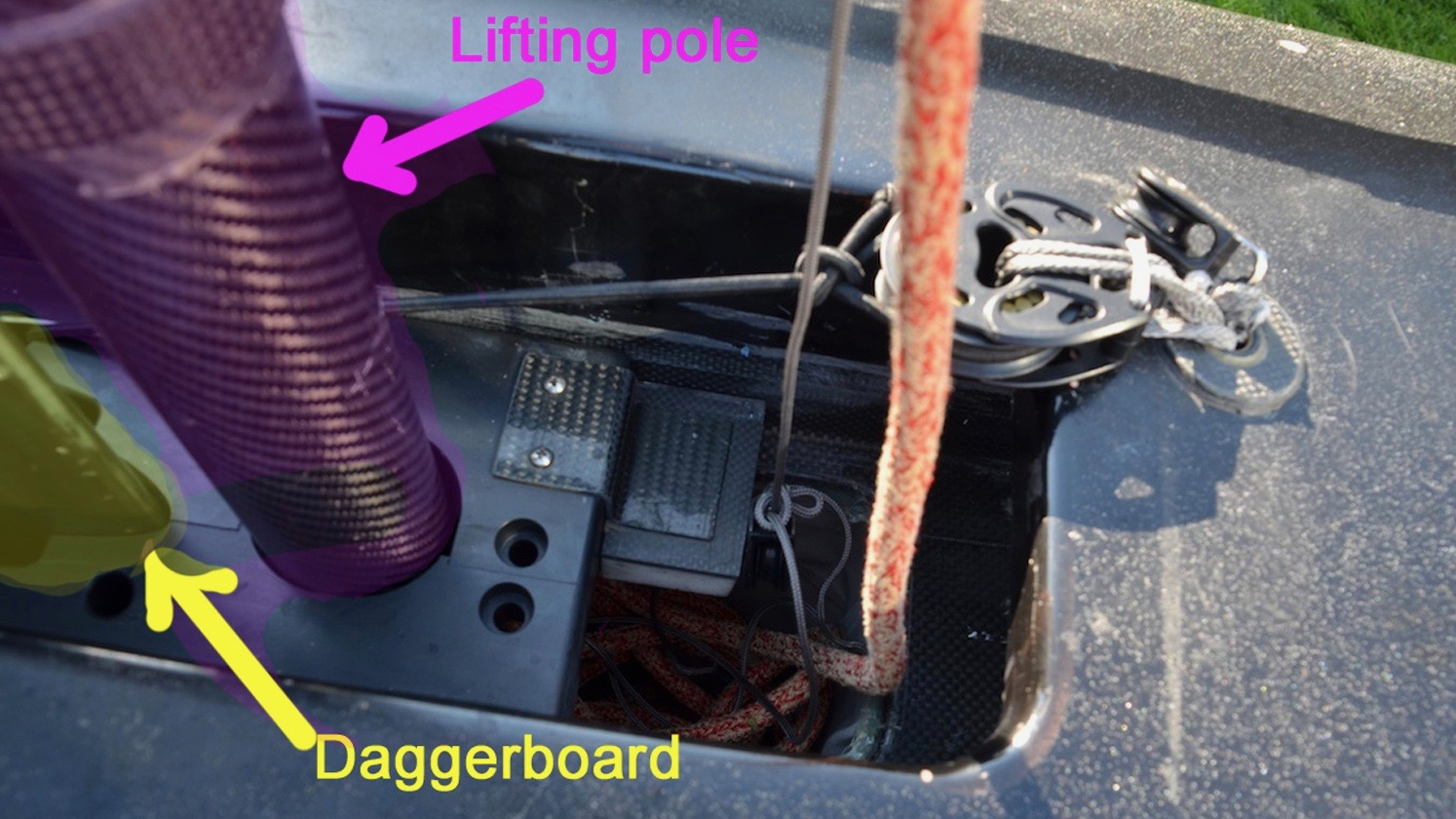 America's Cup 2013 - Oracle's experimental AC45 daggerboard cage with rake and cant controls