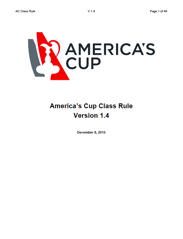 AC Class Rule v1.4 for the 2017 America's Cup