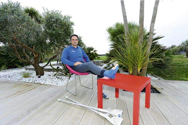 Franck Cammas recovering at home in Guidel in Brittany a week after his accident.