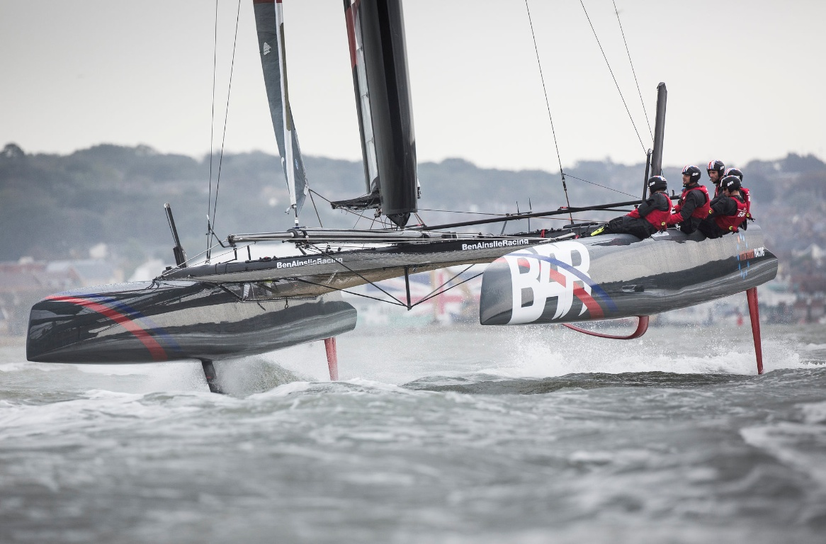 Pictures of the Ben Ainslie Racing americas cup team out in action today on their new T1 foiling catamaran Credit: Mark Lloyd/Lloyd Images Foiling AC45 day. BAR