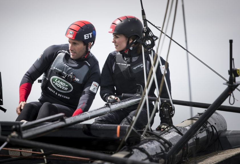 The Duchess of Cambridge showed she's quite the sailor, taking the helm on Land Rover BAR's T1 test boat.