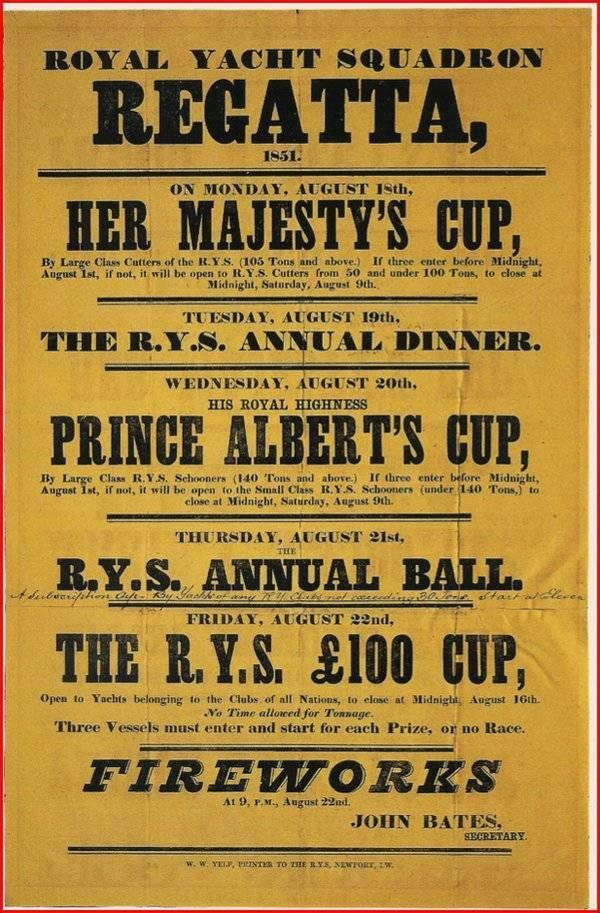 America's Cup - Royal Yacht Squadron 1851 poster