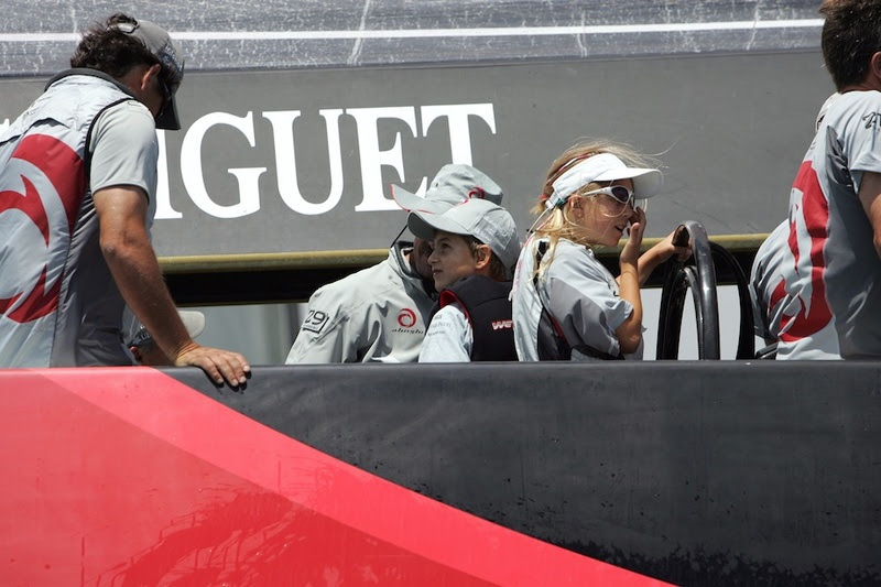 This photo, circa 2006 shows Gemma, about age 12, on the wheel of Alinghi's America's Cup Class yacht in Valencia. This lady clearly likes to helm. Photo courtesy Murray Jones.