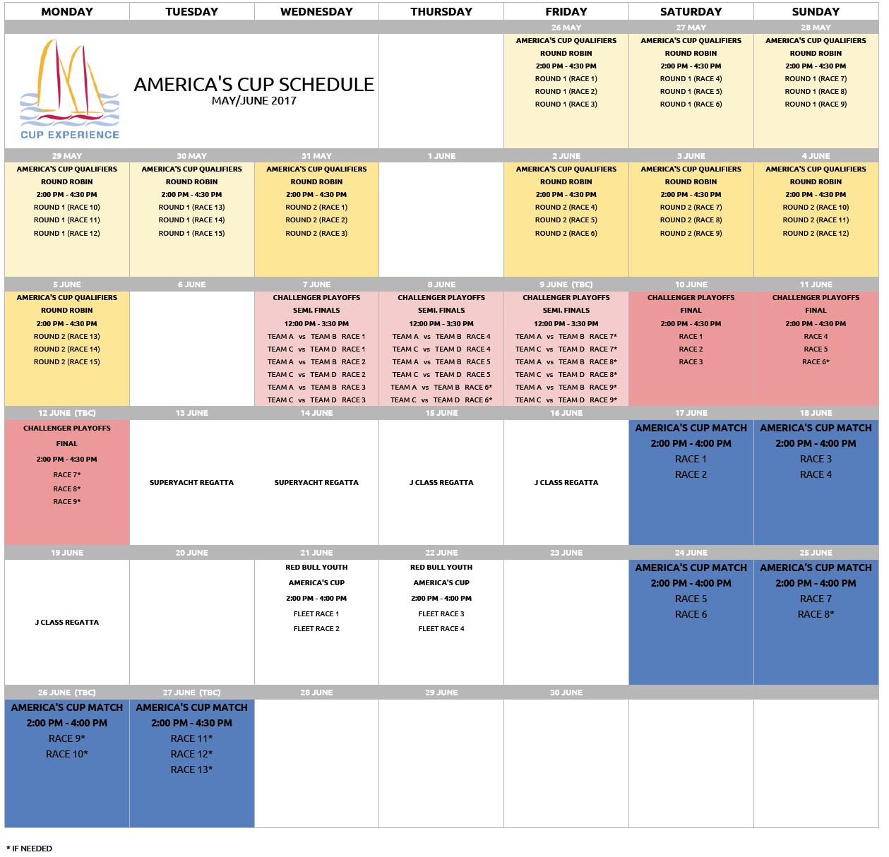 Original America's Cup 2017 Race Calendar