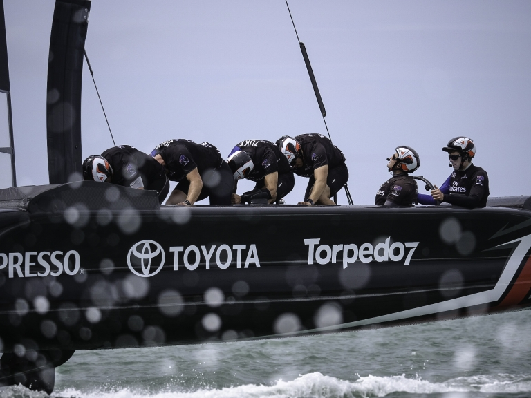 ETNZ's America's Cup Class yacht with bicycle grinders - Richard Gladwell