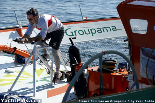 America's Cup skipper Franck Cammas using bicycle grinder on offshsore singlehanded multihull.