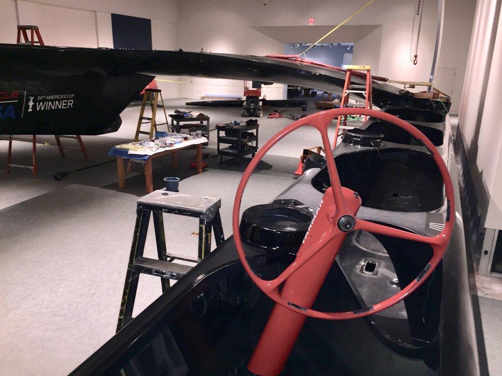 AC72 Winner 2013 America's Cup in San Francisco - starboard helm wheel. Oracle Team USA