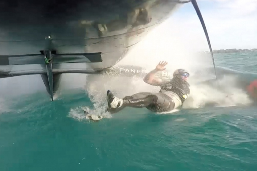 America's Cup sailor Graeme Spence of Oracle Team USA went overboard