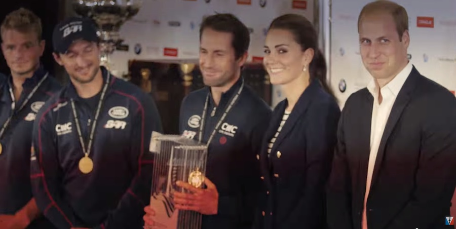 America's Cup Ben Ainslie receiving the trophy for winning the event from the Duke and Duchess of Cambridge.