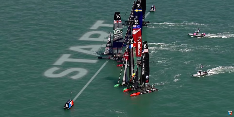 America's Cup Oracle Team USA started Race 2 with some excitement when Groupama Team France luffed them at the start, giving OTUSA a penalty. OTUSA then fought back to finish fourth in the race and third for the event.