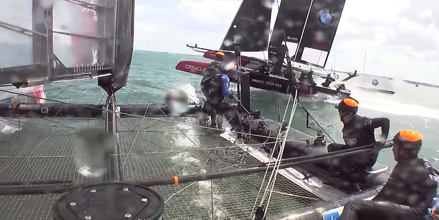 America's Cup View from on board Emirates Team New Zealand during the incident at Mark 6 in Race 1. You can see that ETNZ is still on starboard gybe, but Peter Burling has pulled the helm to gybe.