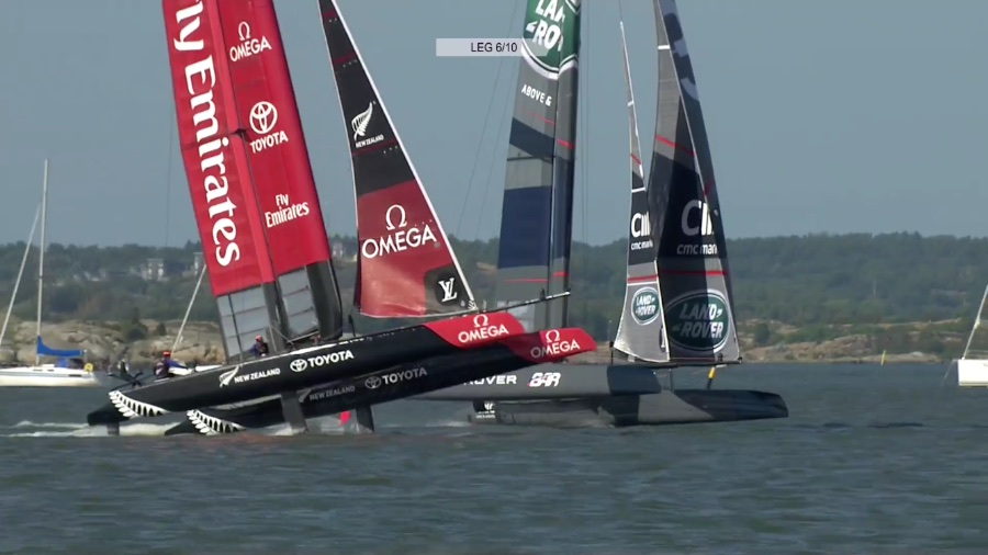 America's Cup Land Rover BAR used their Code Zero to pass Emirates Team New Zealand at the finish on Race 2 on Saturday.
