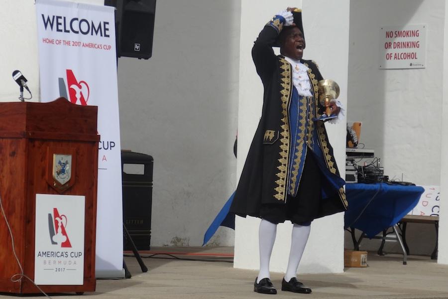 America's Cup BDA prep rally, city hall   Hamilton Bermuda Town Crier Ed Christopher