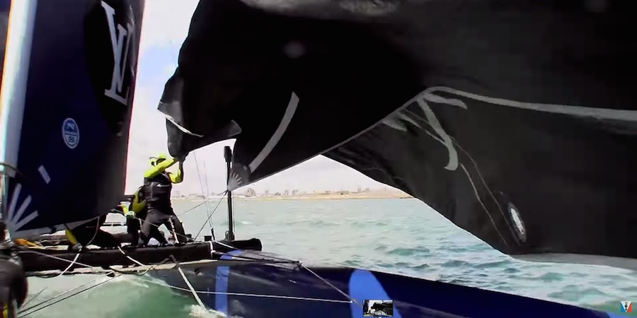 America's Cup Artemis Racing had bad luck when their code zero halyard lock released in Race 2. They lost time as they struggled to get the sail under control and on board, dropping to last place in the race and in the event.