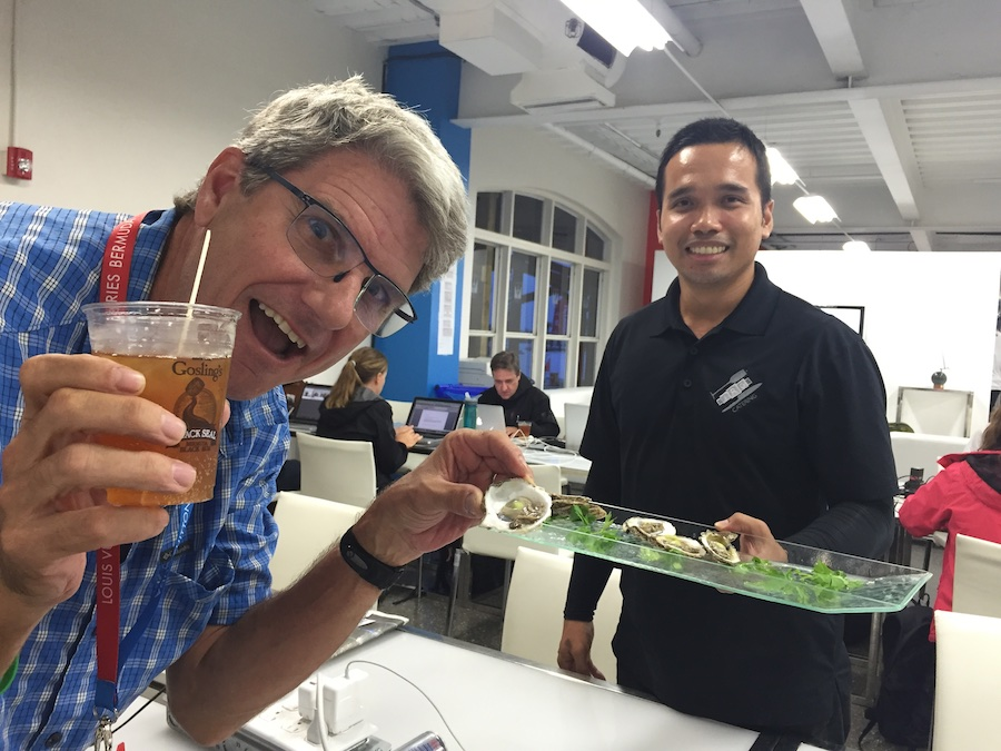 America's Cup Mike Segar enjoying the Bermudian hospitality.