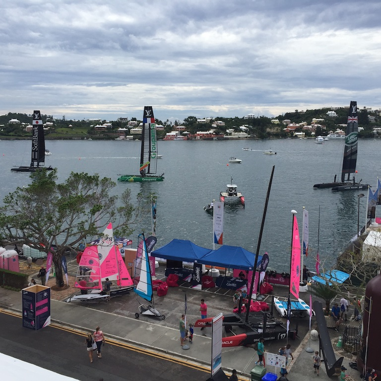 America's Cup ACWS Bermuda AC45's moored off Front Steet.