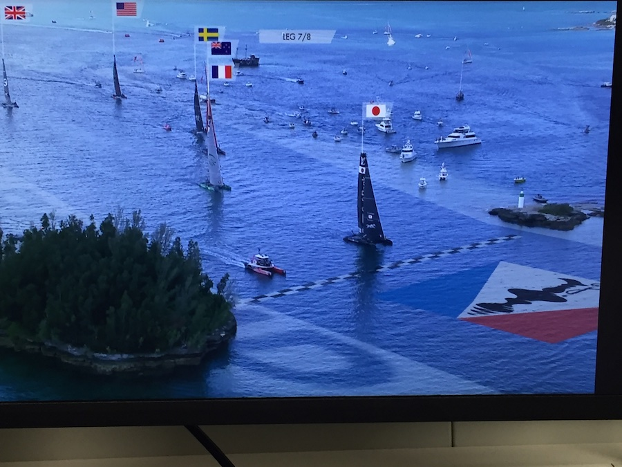 ACWS Bermuda, practice races. LiveLine booth. TV image, Two Rock Passage