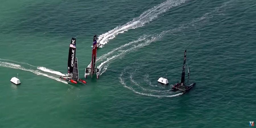 America's Cup Oracle Team USA came in with speed on port gybe and sailed past Emirates Team New Zealand