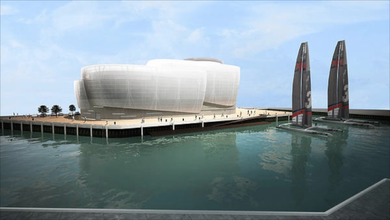 America's Cup Sir Ben Ainslie (GBR) announced the government funding for their team base in Portsmouth