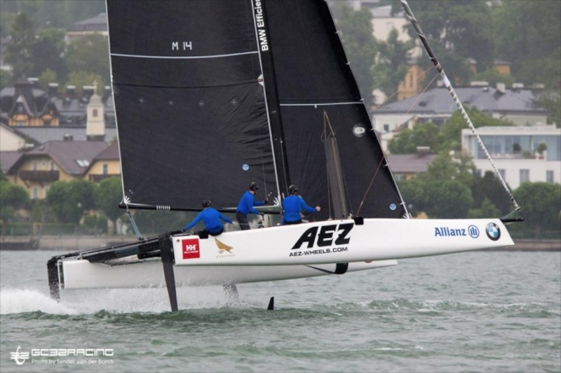 America's Cup Oracle Team USA strategist Tom Slingsby and wing trimmer Kyle Langford came in third in the Austria Cup in foiling GC32's.