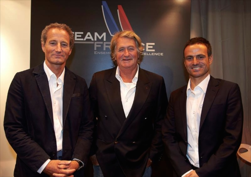 America's Cup Franck Cammas (right) announced Team France in December, with Michel Desjoyeaux (left) and Olivier de Kersauson (center)