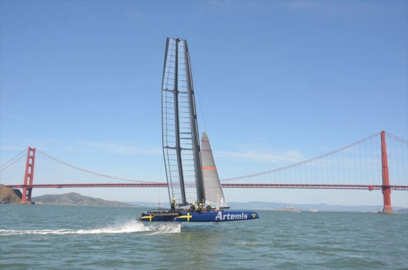 America's Cup Artemis Racing's foiling AC45 training in San Francisco in April.