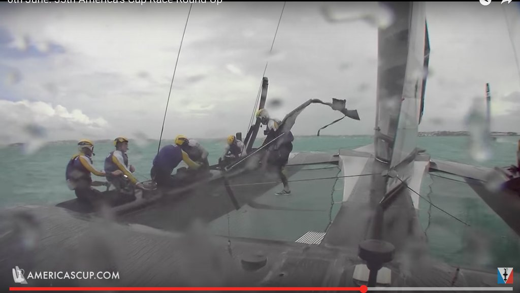Pieces of fairings flew off Artemis in strong winds in the America's Cup challenger semi-finals - Image ACTV Video