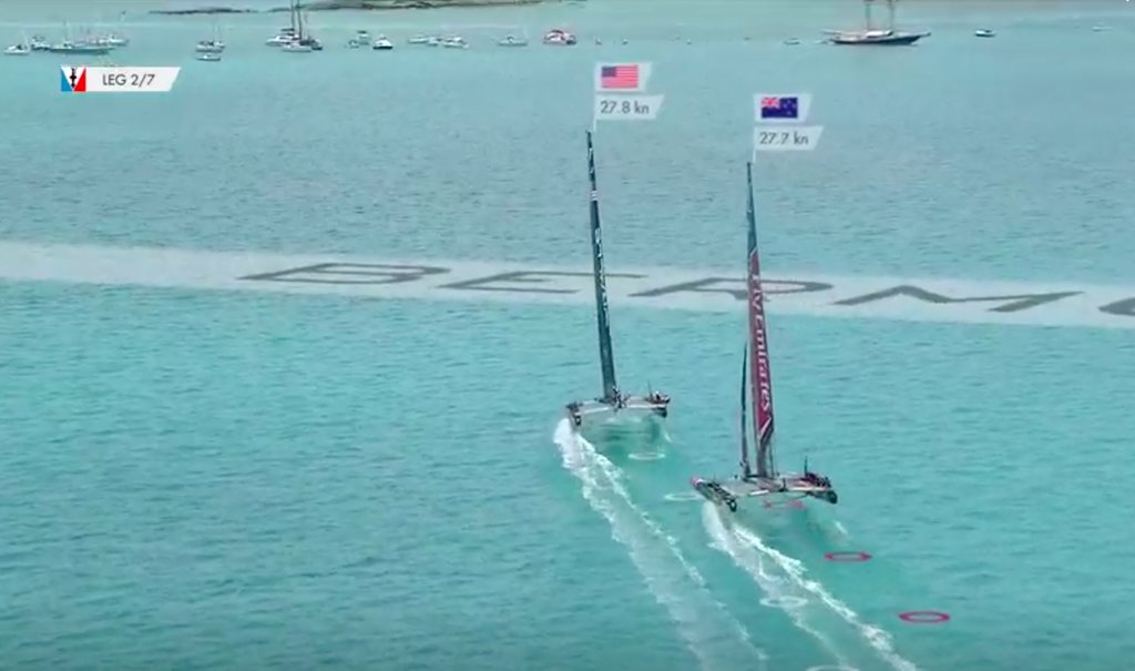 USA leads NZL on leg 2 of Race 9 - 2017 America's Cup Match